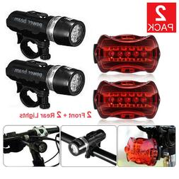2 Set Waterproof 5 LED Lamp Bike Bicycle Front Head Light+Re