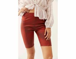 Free People Heatwave Faux Suede Bike Shorts Red High Rise St