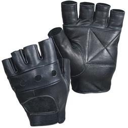 Leather Fingerless Mens Weight Training Cycling Wheelchair D