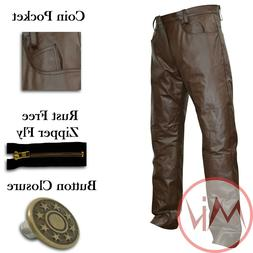 Men's Real Leather 5 Pocket Brown Leather Jeans Style Motor