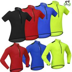Mens Cycling Jersey Long Sleeve Breathable Reflective Bike W